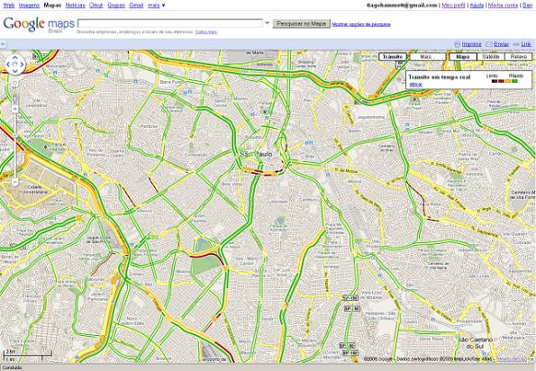 Aplicação de transito no Google Maps em SP